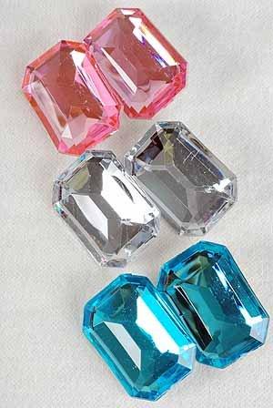 Earrings Oblong Shape W Acrylic Stones Clip On/DZ **CLIP ON**6 Color Asst