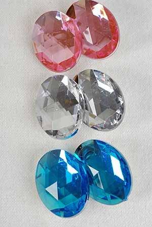 Earrings Oval Shape W Acrylic Stones Clip On/DZ **CLIP ON** 6 Color Asst