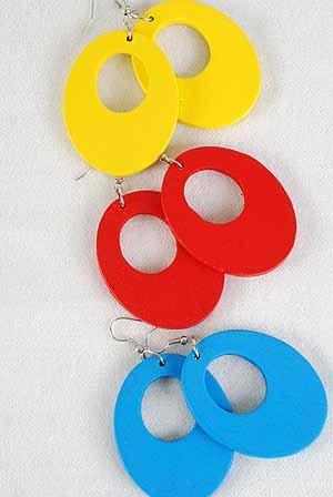 """Earrings Oval Shape Color asst.1.5''x2""""/DZ 6 Color Asst"""