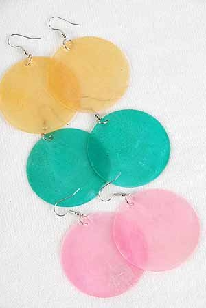 Earrings Paper Shell Circles 2''/DZ 6 Color asst 2''x2''