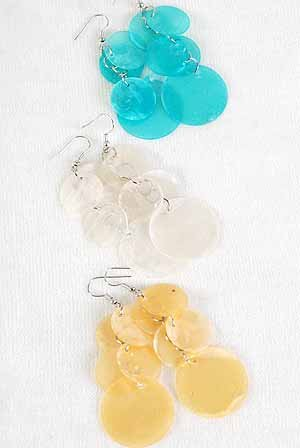 Earrings Paper Shell W Circles/DZ ** New Arrival** White Yellow Orange Lime Pink Aqua 6Color Asst