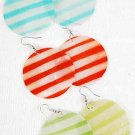 Earrings Paper Shell With Strips 2''wide/DZ ** New Arrival** 6 Color Asst