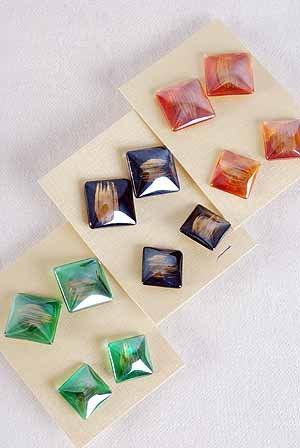 Earrings Poly 2per SQ Shape Post Color Asst/DZ **Post** 6 Color Asst