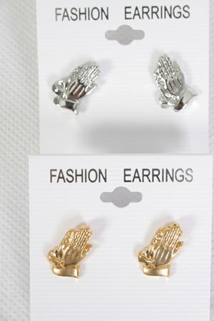 Earrings Praying Hand Post/DZ Choose Colors Gold; Silver