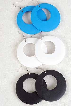 """Earrings Round Shape Color asst.2""""''x2""""/DZ 6 Color asst"""