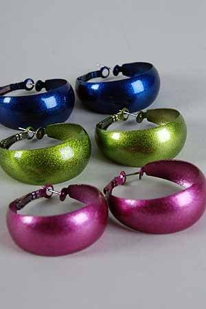 Earrings Pearl Metallic Color Asst,1.5''/Dz ** New Arrival** 6 Color Asst
