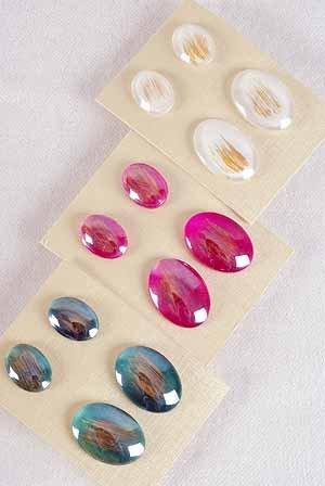 Earrings Poly 2per Oval Shape Color Asst Post/DZ **Post** 6 Color Asst