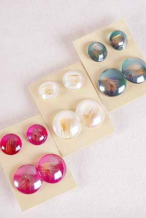 Earrings Poly 2per Round Button Style Post/DZ **Post** 6 color Asst