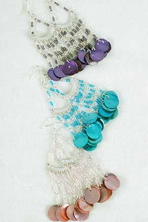 Earrings Shell W Indian Beads/DZ ** New Arrival** 6 Color Asst