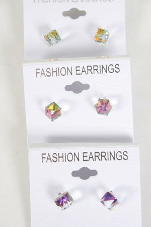 Earrings Square Crystal AB Multi/DZ **NEW** **New Arrival** AB Multi