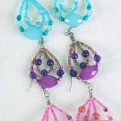Earrings Teardrop Beads W Lucite/DZ 6Color Asst
