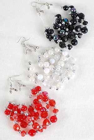 Earrings Teardrop Shape W Pearl & CC Beads/DZ ** New Arrival** 6 Color Asst