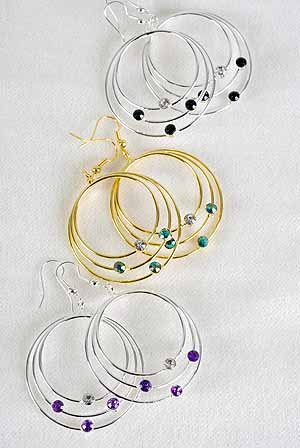 Earrings Triple Circle With Rhinestones/DZ ** New Arrival** 6color asst,choose gold or silver