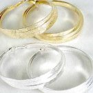 "Earrings Triple Loop Foil Finish 3"" Wide/DZ Choose Gold Or Silver Finish - IMP"