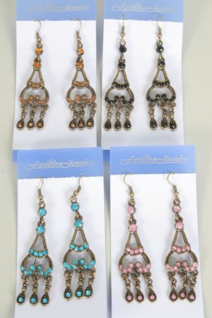 Earrings Victorian Look/DZ **NEW** Post, Color Asst
