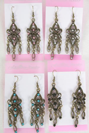Earrings W Color Stone,Victorian Look/DZ **NEW** Color Asst