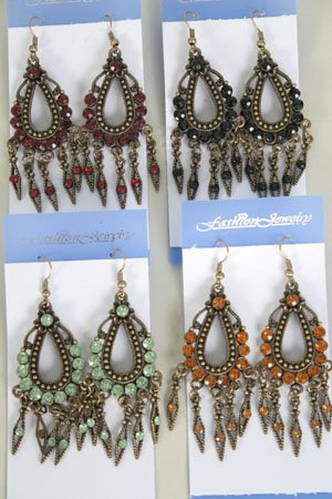 Earrings W Color Stone,Victorian Look/DZ **NEW** Post, Color Asst - 50dz/cs