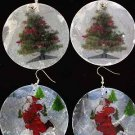 Earrings X'Mas W Seashell,6 Pattern Asst 2.5'' Wide/DZ **NEW**