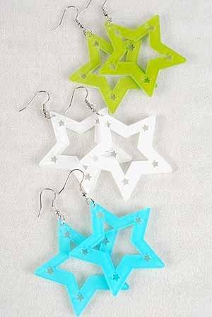 """Earrings Star Shape W Acrylic Color Asst/DZ **POST** 7 Color Asst,2""""x2"""""""