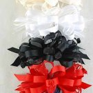 Hair Bow Large Grograin w Roses W French Clip Special Promation** W French Clip