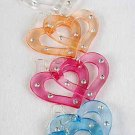 Earrings Acrylic Heart W Clear Rhinestones/DZ/DZ 6 Color Asst