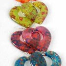 "Earrings Acrylic Heart W Flowers/DZ 6 Color Asst Size 2""x2"""