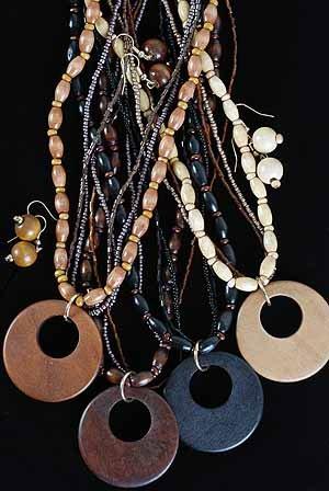 Necklace Sets bunch Bead W Circle Disk/DZ Natural Color Asst