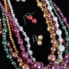 Necklace Set Metallic Beads w 30'' long/dz 6 Color Asst