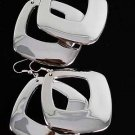 Earrings Square Silver Foil Finish dangle/DZ Silver - 7206SS