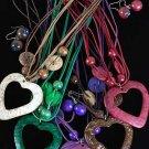Necklace Sets Wood w Heart Cocount Shells Mix/DZ 6 color asst