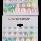 Earrings 12per ABS Pearl Pastel Color Asst/DZ **NEW** Pastel Color Asst