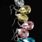 Earrings Acrylic With Stones 6Color Asst/DZ 6 Color Asst
