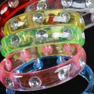 "Bracelet Bangle Transparent W Clear Stones/DZ Size 3""x0.75"",7 Color Asst"