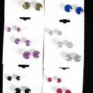 Earring 3per Color stone Mix/DZ 7mm 9mm 12mm Mix,2 Color Asst