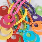 Necklace Sets larg Circle disks W Acrylic Beads/DZ 6 Color Asst - QN1744