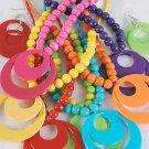 Necklace Sets larg Circle disks W Acrylic Beads/DZ 6 Color Asst - QN1744