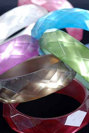 "Bracelet Bangle Cateye W Dialmond Cut /DZ 7 Color Asst,W3"" Dia1"""