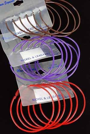 """Earrings 3per Large Color Hoops 2.5""""x2.5"""" Color Asst/DZ 2.5""""x2.5""""Color Mix"""