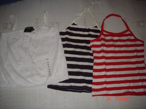 $15/Lot of 3 lovely Stripe tops Color Asst: RED,PURPLE N WHITE*LImited EDITION!!!