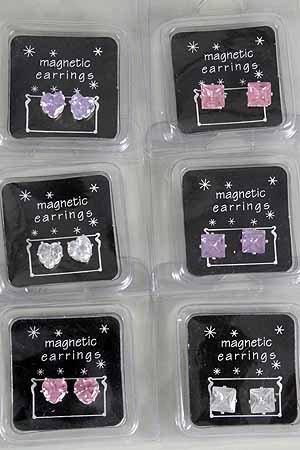 Earring Magnetic 9MM CZ Cubic Heart ,Color Asst Cubic Zirconia**SHINY*