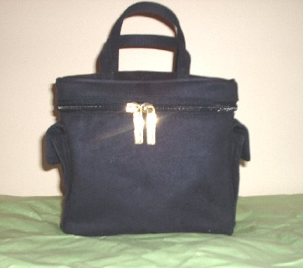 NEW ESTEE LAUDER COSMETIC MAKE UP BAG NAVY FAUX SUEDE