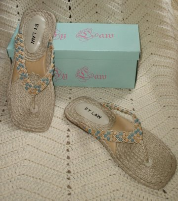 NEW Jessica turquoise braided rope thongs sandals W 8