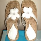 New NICOLE woven flower thongs leather sandals W 8 NIB