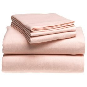 NEW Solid Flannel King Sheet Set in Pink NIP