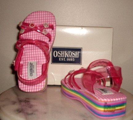 New OSHKOSH girls toddlers sandals pink jelly shoes 11 NIB