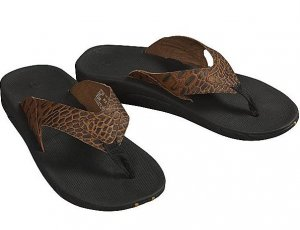 New REEF Leather Slap sandals Croc flip flops M 12 NWT