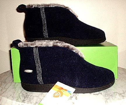 NEW ACORN Chinchilla booties slippers Black Womens Medium NIB