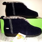 NEW ACORN Chinchilla booties slippers Black Womens Medium NIB