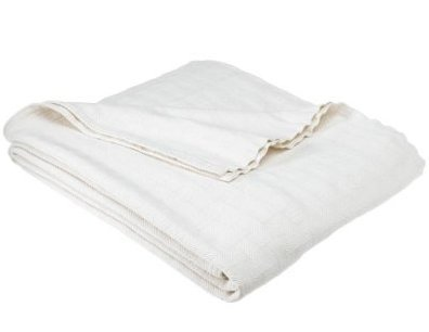 NEW Biederlack Fillmore 100% Egyptian Cotton Twin Blanket in Ivory Beautiful & Warm NWT