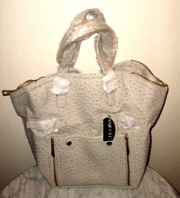 Designer Inspired Bone Ostrich Leather Downtown Tote Celebrity Purse Handbag Bag NEW